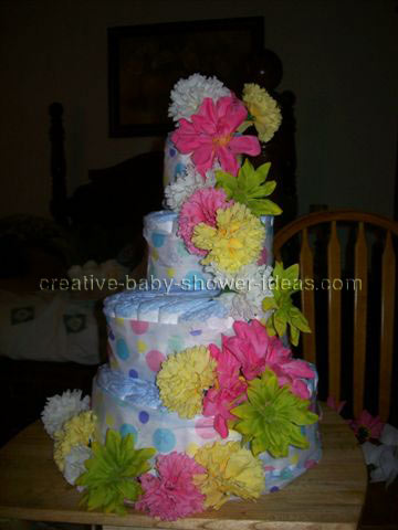 tropical flowers baby shower diaper cake