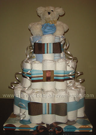 mod teddy bear diaper cake with scrapbook album
