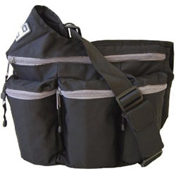 black and grey diaper dude bag