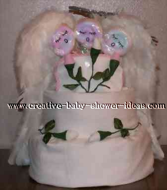 washcloth lollipop singing angels disposable diaper cake