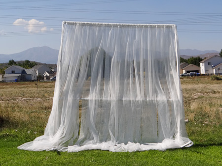 sheer curtains on pvc backdrop