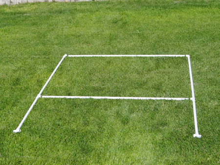 Frame for the backdrop laid out on the ground