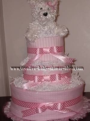 pink and white dog diaper cake