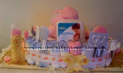back of doll basket diaper cake
