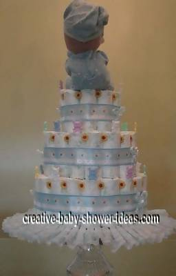 back of precious moments diaper cake