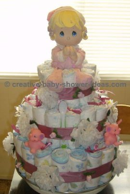 girl precious moments diaper cake