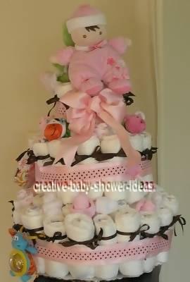 pink polka dots doll diaper cake
