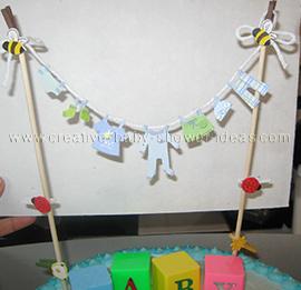 closeup of clothesline baby cake