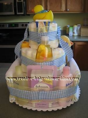 Back Of Blue Plaid Duck Diaper Cake Showing Supplies