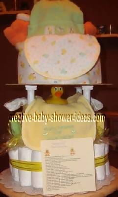 closeup of cake stand tiers with duck diaper cake