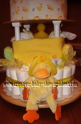back of diaper cake with duck teether