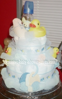 blue bath time bubbles diaper cake