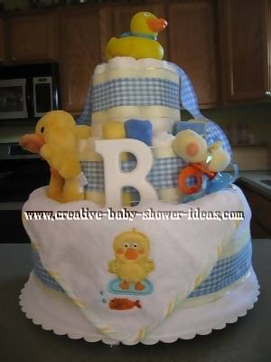 blue and white plaid duck diaper cake
