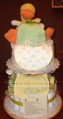 yellow and green ducky diaper cake with poem