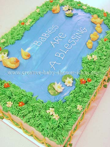 duck pond with mommy and baby ducks cake