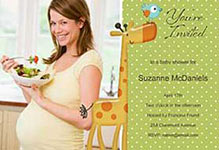 green polka dot ecard with giraffe bird and picture of mom to be