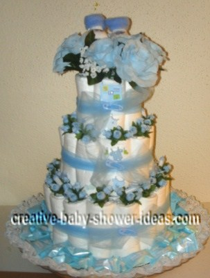 blue baby booties diaper cake
