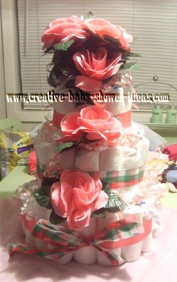 peach and plaid roses diaper cake