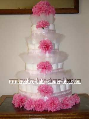 elegant pink flowers diaper cake