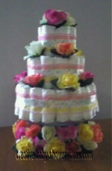 pink and yellow roses diaper cake
