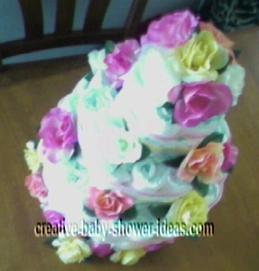 top view of elegant diaper cake