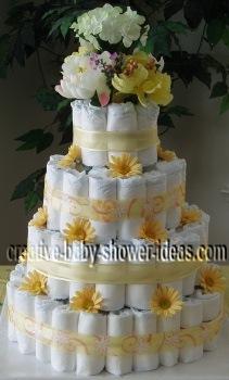 elegant flowers diaper cake