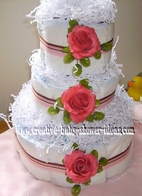 roses and stripes diaper cake