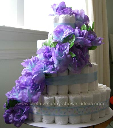 purple flowers diaper cake