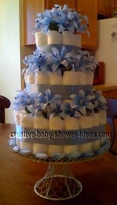 blue elegant flowers diaper cake
