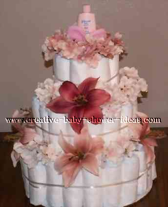 maroon and pink flowers diaper cake