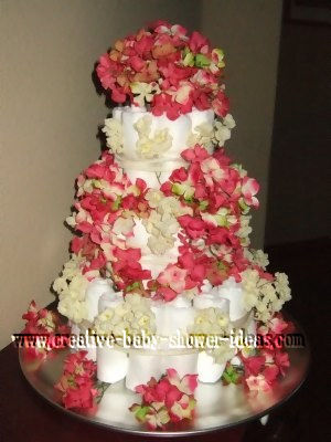 elegant pink and cream diaper cake