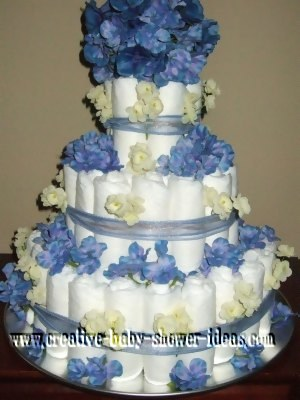 blue and cream flowers diaper cake