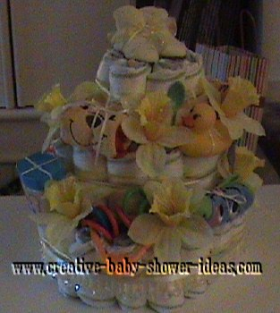 yellow daffodils diaper cake