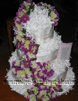 elegant purple and white flowers diaper cake