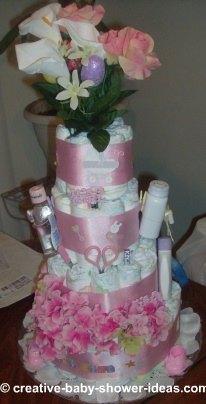 pink flowers diaper cake