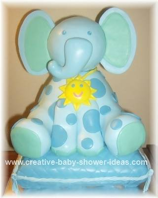 Baby Blue Elephant Cake with Polka Dots and a Necklace