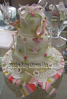light green fairy garden clothesline cake