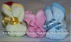 yellow pink and blue washcloth bunnies