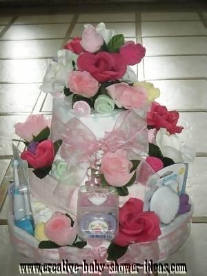 elegant sock roses diaper cake