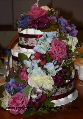 colorful flowers diaper cake