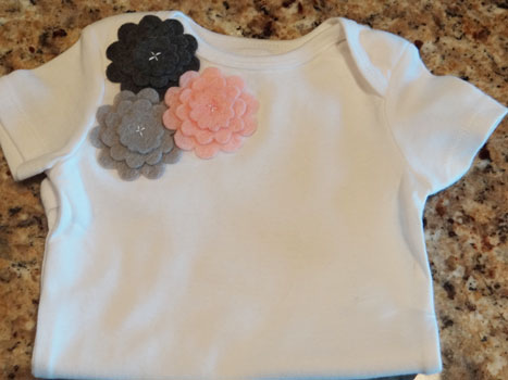felt pink and grey flowers onesie