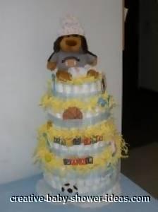 brown bear football diaper cake