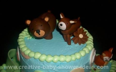 Closeup of top of forest friends cake showing bear and deer