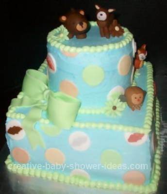 Blue and Green Polka Dot Cake with Forest Animals