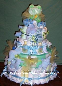 frog diaper cake