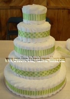 frog diaper cake before decorating