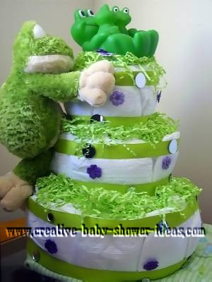 frog diaper cake with lots of frogs