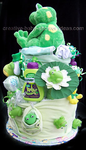 lilly pad frog diaper cake