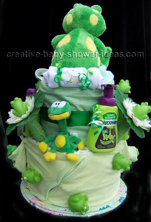 back of lilly pad frog diaper cake