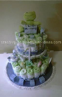 frog diaper cake with I love mommy onesie